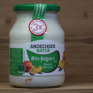 Andechser Natur, Bio-Jogurt mild, Pfirsich-Maracuja 3,7%, 500ml Glas