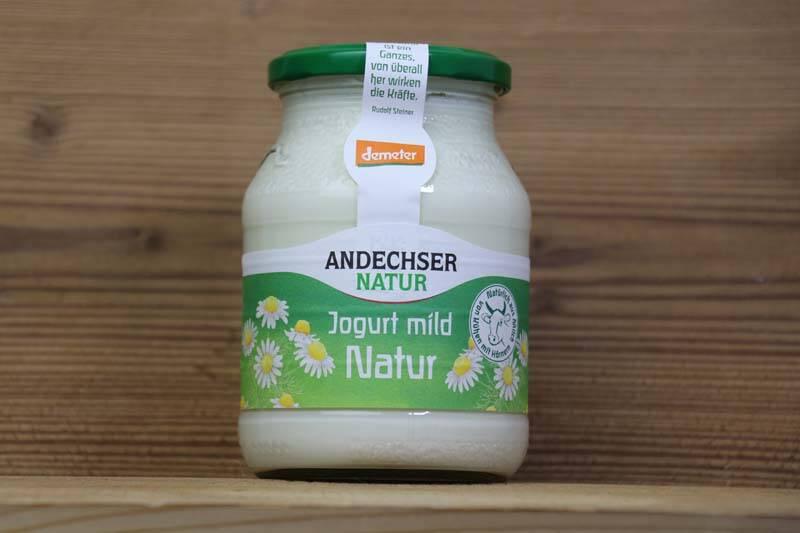 Andechser Natur, Bio Jogurt mild 3.8% Fett, 500g Glas