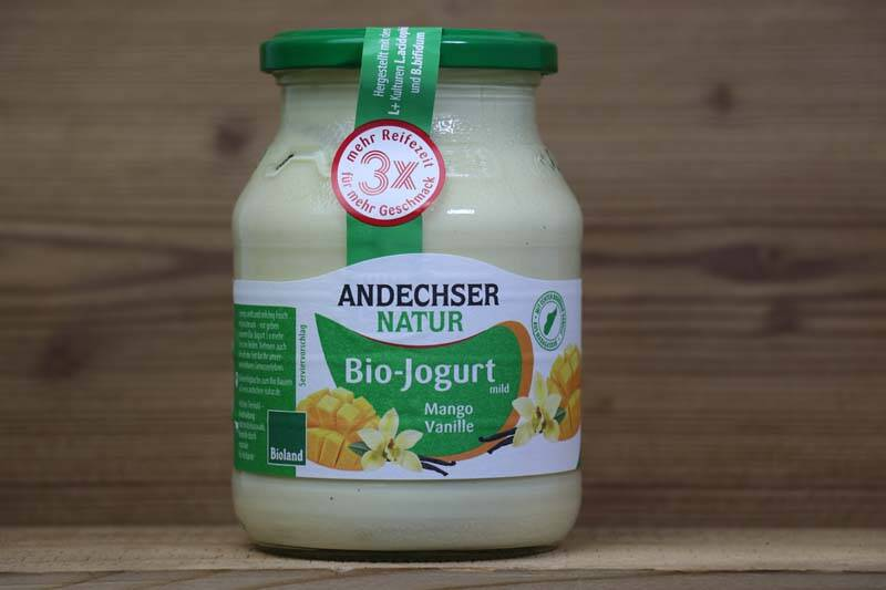 Andechser Natur, Bio-Jogurt mild, Mango-Vanille 3,7%, 500ml Glas