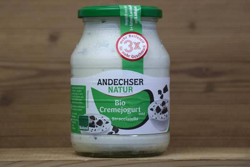 Andechser Natur, Bio-Jogurt mild, Stracciatella 7,5%, 500ml Glas