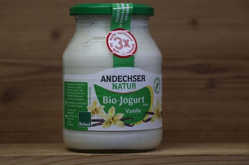 Andechser Natur, Bio-Jogurt mild, Vanille 3,7%, 500ml Glas