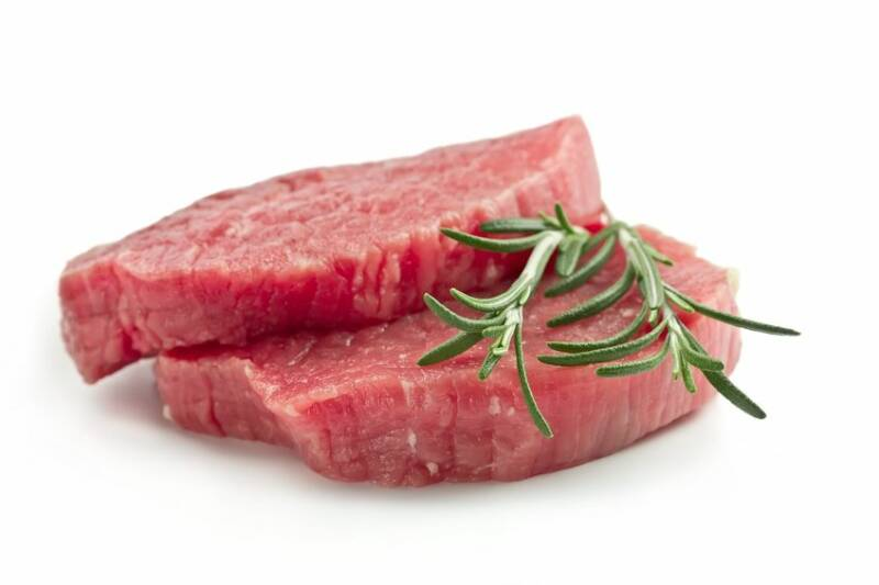 16784421 - raw beef steak isolated on white background