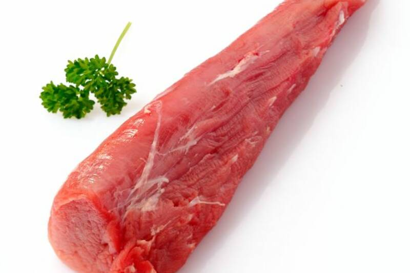 13978125 - raw fillet of pork. tenderloin or sirloin isolated on white background